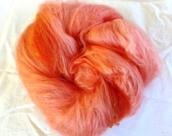 Alpaca, silk and bamboo hand dyed to make a unique batt