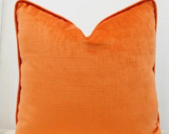 Orange Pillow Cover , Orange Velvet Pillow Cover,Orange velvet Pillow with Trim,Orange Pillow with Piping,Orange Cushion Cover