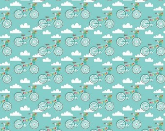 Riley Blake Designs - Fancy Bikes - #C4061 - Teal