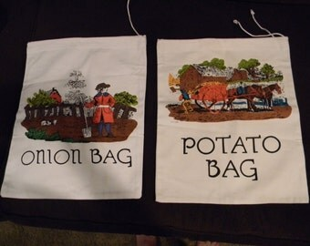 Wqnderful New vintage Pair of Storage Sacks Potato and Onion Bags Measuring 12 1/2 x 15 Inches