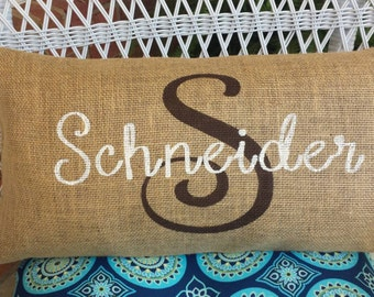 Burlap Pillow, Last Initial, and Name - Wedding Gift, House Warming Gift