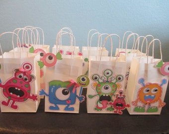 Monsters treat bags (10) Kids monster party,Monster Birthday,Monster Party,Monster favor bags,Monster Goodie bags,Monster theme,Goodie bags,