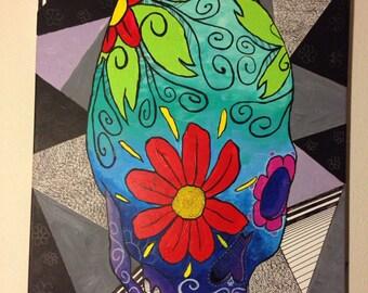"Mexican Sugar Skull 24"" x 36"" acrylic on canvas"