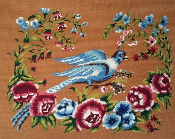 White dove and flowers vintage french hand stitched needlepoint tapestry