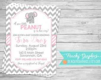 Printable Elephant Baby Shower Invitation - Little Peanut Baby Shower, Pink and Grey, Chevron, Elephant, Baby Sprinkle