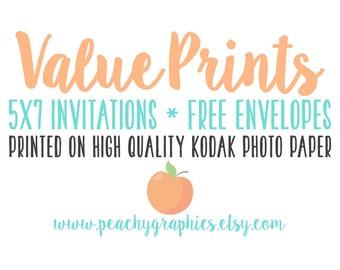 Value 5x7 Prints on High Quality Lustre Kodak Photo Paper with White Envelopes