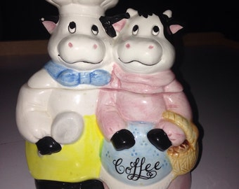 Mr. And Mrs. Cow Coffee storage/container.