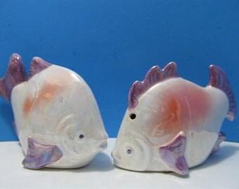 Ceramic Fish Salt and Pepper Shakers Beach Ocean Mermaids   #714