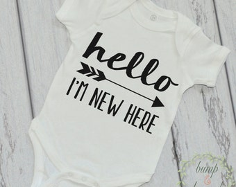 Take Home Outfit Hello I'm New Here Birth Announcement Outfit Boy Newborn Clothes Hospital Outfit Hi I'm New Here 039
