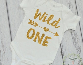 Wild One First Birthday Shirt One Year Old Birthday Shirt Gold Wild One Birthday Outfit 1st Birthday Photo Prop 023