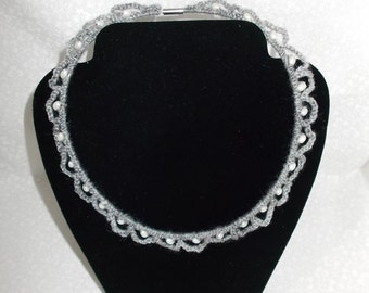 Grey Crochet Necklace with White Beads