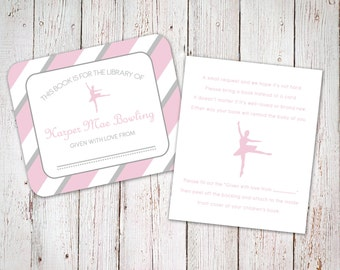 Custom Name - Baby Shower - Book Label and Instruction Card