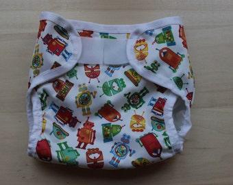 Cloth Diaper Cover - Robot - Medium - 20 - 30 lbs.