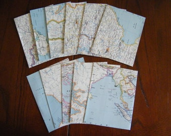 Set of 10 Recycled Up-cycled Stationery Envelopes made from vintage ATLAS map pages