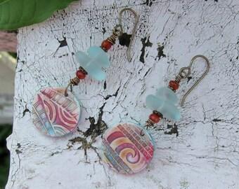 Beach Glass Polymer Clay Gemstone Earrings
