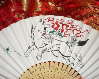 "Okami - handpainted Paperfan - ""Made to Order"""