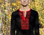 """Wool knitted pullover with Ukrainian traditional ornamental motives """"Kalyna"""" for Men"""