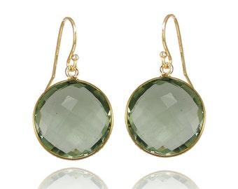 Green Amethyst earring - Drop and Dangle Earring - Large Gemstone Earring - Hypoallergenic earrings - gold round earring - Statement Earring