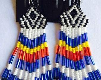 Red, Yellow, Blue, White, and Black Native American Style Earrings