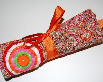 Jewelry Roll, Jewelry Organizer, Travel Jewelry Roll, Travel Jewelry Case, Jewelry Roll Bag, Jewelry Travel Case,  Jewelry Organizer, Orange