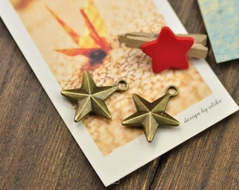 25 pcs of antique bronze or silver five-pointed star charm pendant  20x24mm