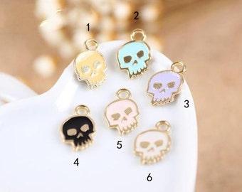 18 pcs of antique gold colorful skulls charm pendants 9x14mm