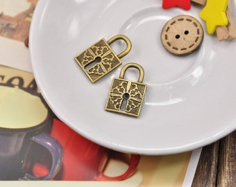 DIY  jewelry 25pcs  antiqued bronze lock charm pendant 16x26mm