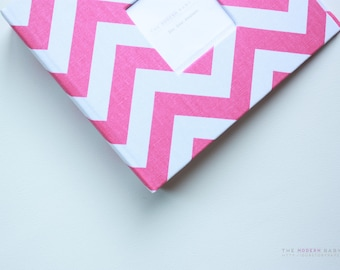 Free shipping. Free Shipping* Hot Pink Chevron Modern Baby Book. baby keepsake. toddler keepsake. baby shower present. memory book.