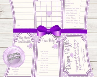 Baby Shower Games Value Pack Purple Elephant~Printable~INSTANT DOWNLOAD