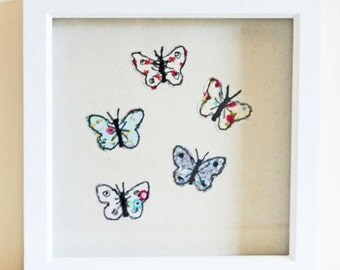 Individually Designed Butterfly Applique and Embroidered Picture - 1 only