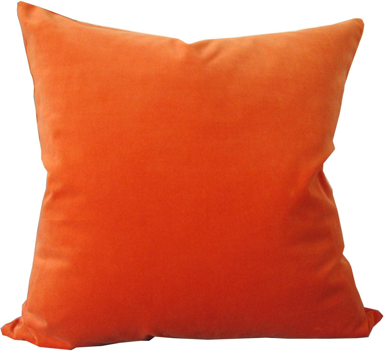 Orange Velvet Throw Pillows : Orange Velvet Decorative Pillow Cover-Accent Pillow-Sofa