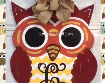 Hand Painted Wood Fall Personalized Monogram Owl Door Hanger Sign