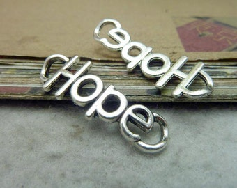 15pcs  13x37mm Antique Silver Hope Tag Charm Connector