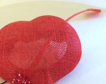 Red Heart - fascinator
