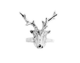 """Deer trophy """"my sweet deer"""" head ring sterling silver"""