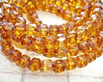 10 x 8 mm Amber Brown Faceted Cathedral Picasso Finish Czech Glass Beads