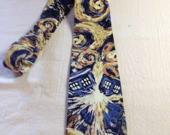 neck tie made from Doctor Who Stary Night Exploding Tardis cotton fabric Adult/teen, time travel, geeky, The Doctor, nerd, police box, scifi