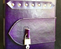 LOCKABLE Handmade leather journal, lovers tree design embossed,personal diary (Upgrade with new high quality locks)