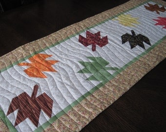 Maple Leaves Quilteld Table Runner - red, orange, brown, yellow, green maple leaves