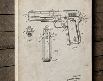 Colt 1911 Semi Automatic Pistol Patent Canvas Art, Pistol, Gun Enthusiast, Colt 45, Gun Decor, Canvas Wall Decor, PP0076