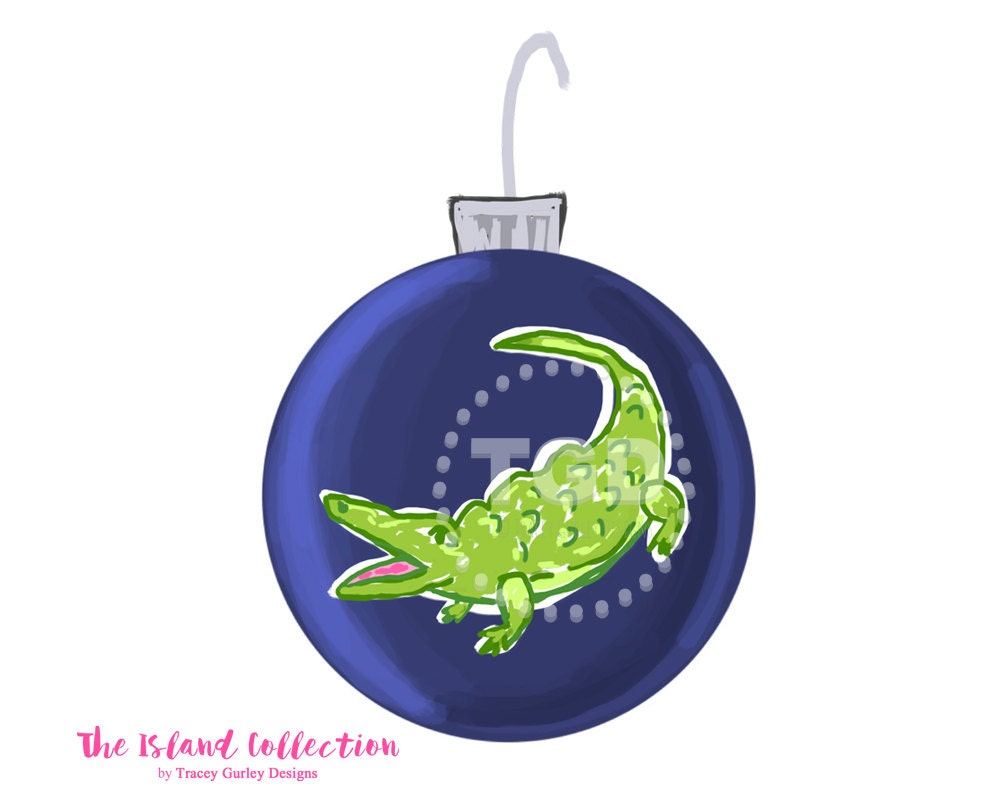 Preppy navy christmas ornament clip art alligator