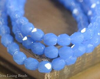 Sweet Cornflower Mamas (30) - Firepolished Czech Glass Bead - 6mm - Faceted Round