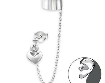 925 Sterling Silver Heart Dangle Linked Chain Cuff Earring - EC1707