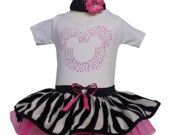 Neon Pink Tutu Skirt 80s Fancy Dress Party Costume Flo Sparkle Minnie Zebra Set