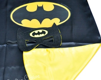 Batman Cape and mask set/ superhero/ childrens cape/ costume/party favor/kids