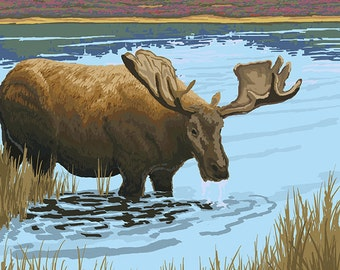 Ely, Minnesota - Moose and Lake (Art Prints available in multiple sizes)