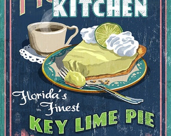Key West, Florida - Key Lime Pie Vintage Sign (Art Prints available in multiple sizes)