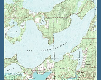 Lac Courte Oreilles Chart - Sawyer County, Wisconsin (Art Prints available in multiple sizes)