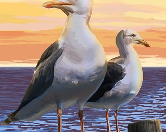 Poulsbo, Washington - Seagull (Art Prints available in multiple sizes)