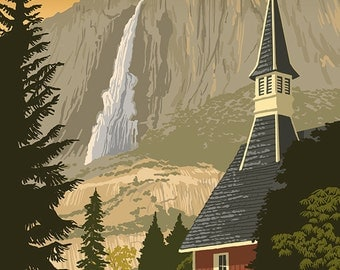Yosemite Chapel and Yosemite Falls - California (Art Prints available in multiple sizes)